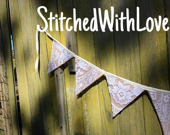 Hessian/burlap and white lace bunting. Perfect for weddings.