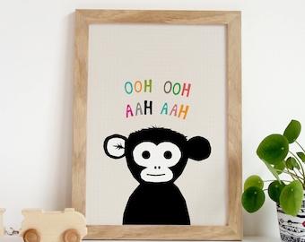 Monkey Art Print, Illustrated Monkey, Monkey Prints, Monkey Nursery Art, Jungle Wall Art, Nursery Decor, Cute Wall Art, Nursery Monkey