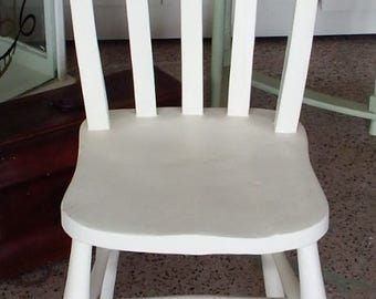 White chalk painted farm house slatt back chair with spindle stretcher chair 26