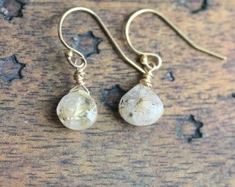 14K GF Earrings with Rutilated Quartz  - Dainty Earrings - Quartz Earrings