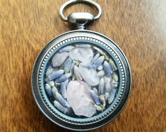 Dried Lavendar and Rose Quartz Pendant
