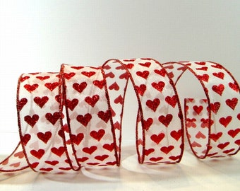 Wired Valentines Ribbon ~ 1 .5 inch  White Sheer Ribbon with Red Glitter Hearts ~ Valentines Day Craft / Decor Ribbon ~ 5 Yards
