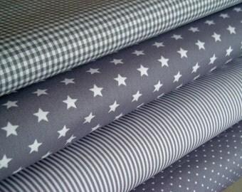 Fabric light grey 4 substances 50 x 145 cm