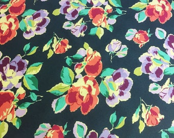 SALE Amy Butler Bright Heart Natural Beauty in Navy Blue - Spring Fabric by the Yard - Floral Fabric - Clearance Quilt Fabric Yardage