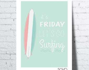 "Displays surfing, summer, wall decoration, ""it's friday Let's go surfing"", kids"