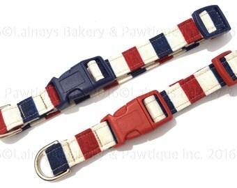 Laineys Patriotic Stripes Dog Collar
