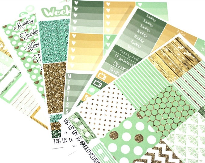 Planner Stickers - Fits Erin Condren Vertical - Mint and Wood Planner Stickers - Ala Carte Weekly Sticker Kit - Mint Planner Stickers