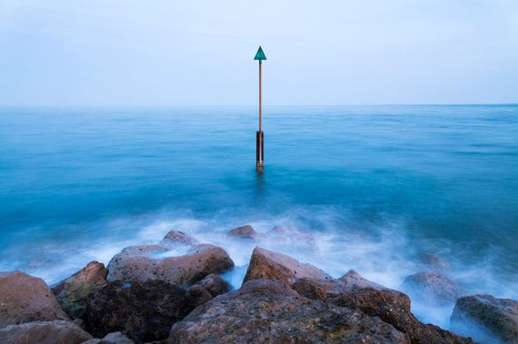 GREEN ARROW. Seascape Print, Rocks and Sea, Coastal Print, Blue Sea, Beach Picture, Sandbanks Poole, Photographic Print