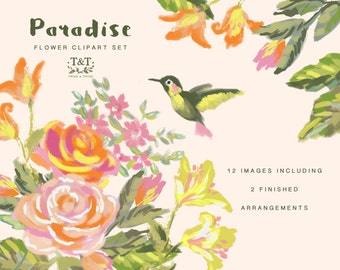 Paradise flower clipart. Floral elements for craft projects, wedding stationery etc.