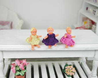 Dollhouse miniatures, plastic baby doll in the crochet dress in 1:12 for the Doll House, Doll House, collector