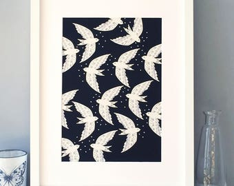 Birds on a night flight A4 art print / Cream and grey on a deep black ground / Wall Art / Free UK shipping