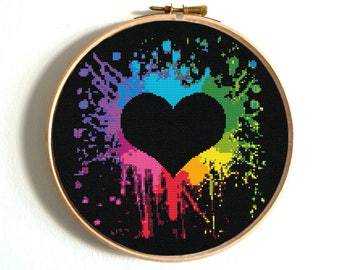 Heart Cross Stitch Pattern Colorful Rainbow Embroidery Love Counted Chart Birthday DIY Wedding Printable PDF Sampler Funny Easy
