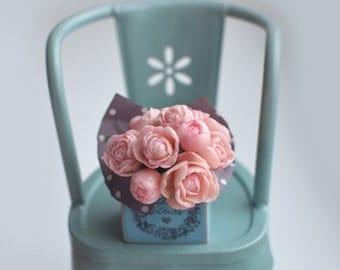 Dollhouse Flowers / Miniature Peonies in Wooden Box / Flowers in Shabby Vintage Style Dollhouse OOAK
