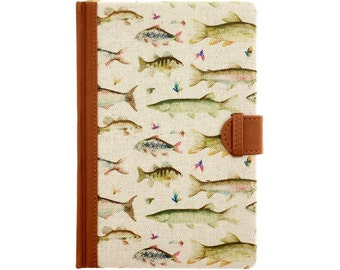 Voyage Maison fabric covered notebook, lined paper, leather look and fabric bound Stags, Thistle, Carp, Hydrangea
