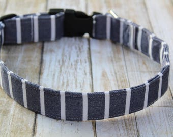 Denim Striped Dog Collar - Personalized Dog Collar - Striped Dog Harness - Denim Dog Collar - Male Dog Collar - Nautical Dog Collar