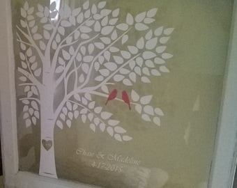 CUSTOM  Love Birds in a Tree with the Wedding Couples info.