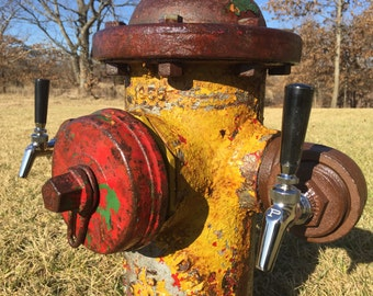 REAL Fire Hydrant Beer Tower, Mancave, Firefighter, Kegerator, Rustic Bar Decor