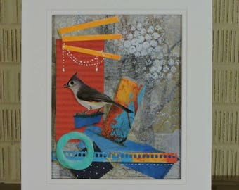 Tufted Titmouse Original Mixedmedia Collage