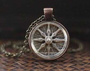 Dharma Wheel Necklace, Buddhism necklace, Buddhist jewelry, Mandala Buddhist pendant, Sacred Geometry necklace, meditation necklace