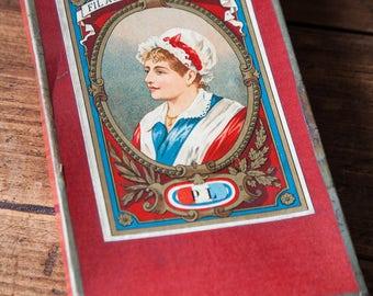 Old antique empty sewing thread box Fil Au Coeur Français PL
