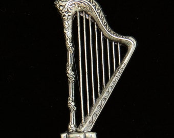 Large Harp Pin Brooch Gold Plate, Antiqued Brass or Oxidized Matte Silver Orchestra Symphony Music PG113Brass / PG113GP / PS280