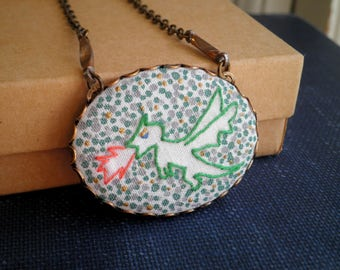 Green Dragon Necklace - Fire Breathing Dragon Outline Modern Embroidered Necklace, Creature / Animal Embroidery Dot Art Jewelry Gift For Her