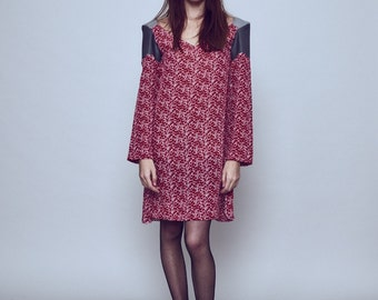 Printed silk red dress