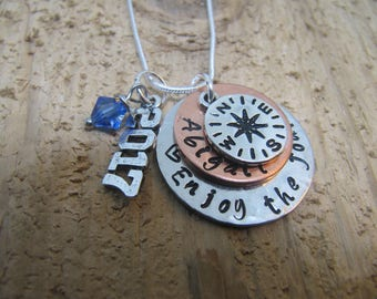 graduation gift, Enjoy the Journey, hand stamped necklace, Graduation 2017, High School Graduation gift, College graduation, compass charm