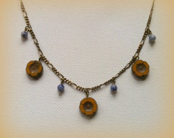 Czech Picasso Glass Sunflower Necklace
