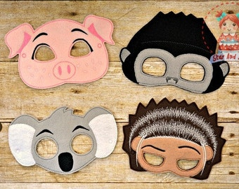 SING Movie Inspired Masks Ash Porcupine Rosita Pig Johnny Gorilla Buster Moon Koala Birthday Party Idea