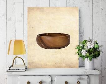 Wooden Bowl, Rustic Wall Decor, Canvas Wall Decor, Printed on Canvas, Rustic Canvas Print, Wall Art