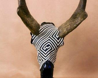 """Beaded Pronghorn Skull """"Mesa Verde"""""""