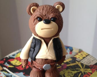 Star Hero Comic Con Bear - Polymer clay bear figure dressed in style of Han Solo