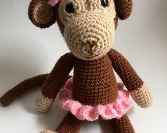 Crochet Stuffed Monkey, Brown
