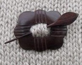 Etched Rosewood Daisy Shawl Pin - Sale - Reduced 30%