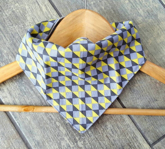 Sale - Handmade bandana drool bib - LIMITED EDITION - abstract print with grey cotton flannel - baby accessories