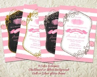 ballerina baby shower invitation tutu baby girl shower invitation pink and gold baby shower