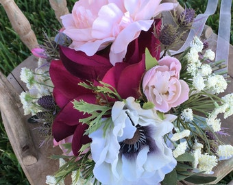 SALE! Bridal Bouquet. Vibrant deep wine and soft pink.