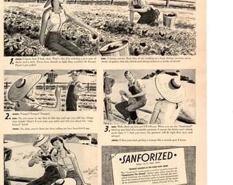 1943 SanForized fabric vintage magazine ad  wall decor (LG)
