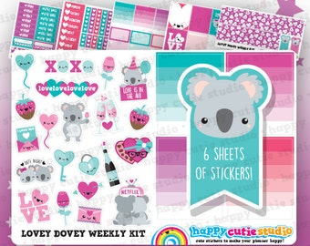 Lovey Dovey Weekly Kit, Planner Stickers, Erin Condren Vertical, Kawaii, Cute Sticker, UK