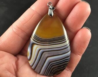 Orange, White and Brown Striped Stone Pendant Necklace
