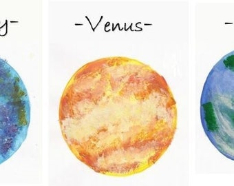 Planets * A6 Postcard * Wedding Table Name * Place-card * Outer Space * Solar System