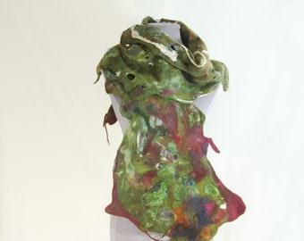 woolen scarf, green scarf, felted scarf, hand felted scarf, 100% wool scarf, wearable art, OOAK, cobweb scarf, eco scarf,  felt wrap, , felt