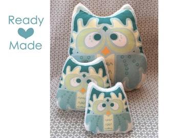 Blue Night Owl Family - Stuffed Animal, Pillow Plushie