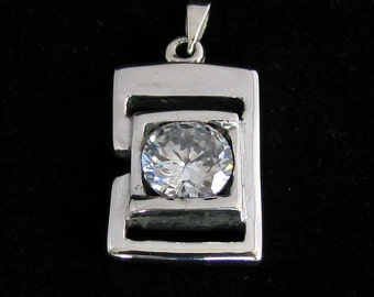 fancy Sterling silver Pendant with round cut white CZ