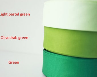 1 inch Grosgrain ribbon, Ribbon by the yard, Gross grain ribbon, Green color palette, hairbow supplies, sewing supplies, scrapbooking