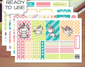 Kawaii Unicorn Weekly Layout Stickers for MAMBI Happy Planner (Classic Size)