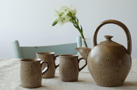 Vintage ceramic Tea set with 3 cups. Vintage pottery.