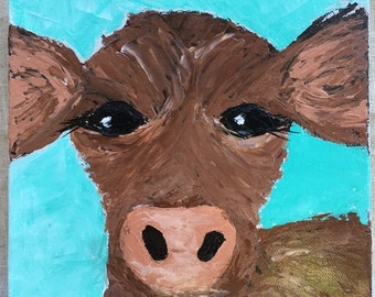 """Brown Cow Painting on 8x8 Gallery Wrapped Canvas 1.5"""" Thick"""