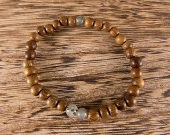 simple wooden beaded bracelet